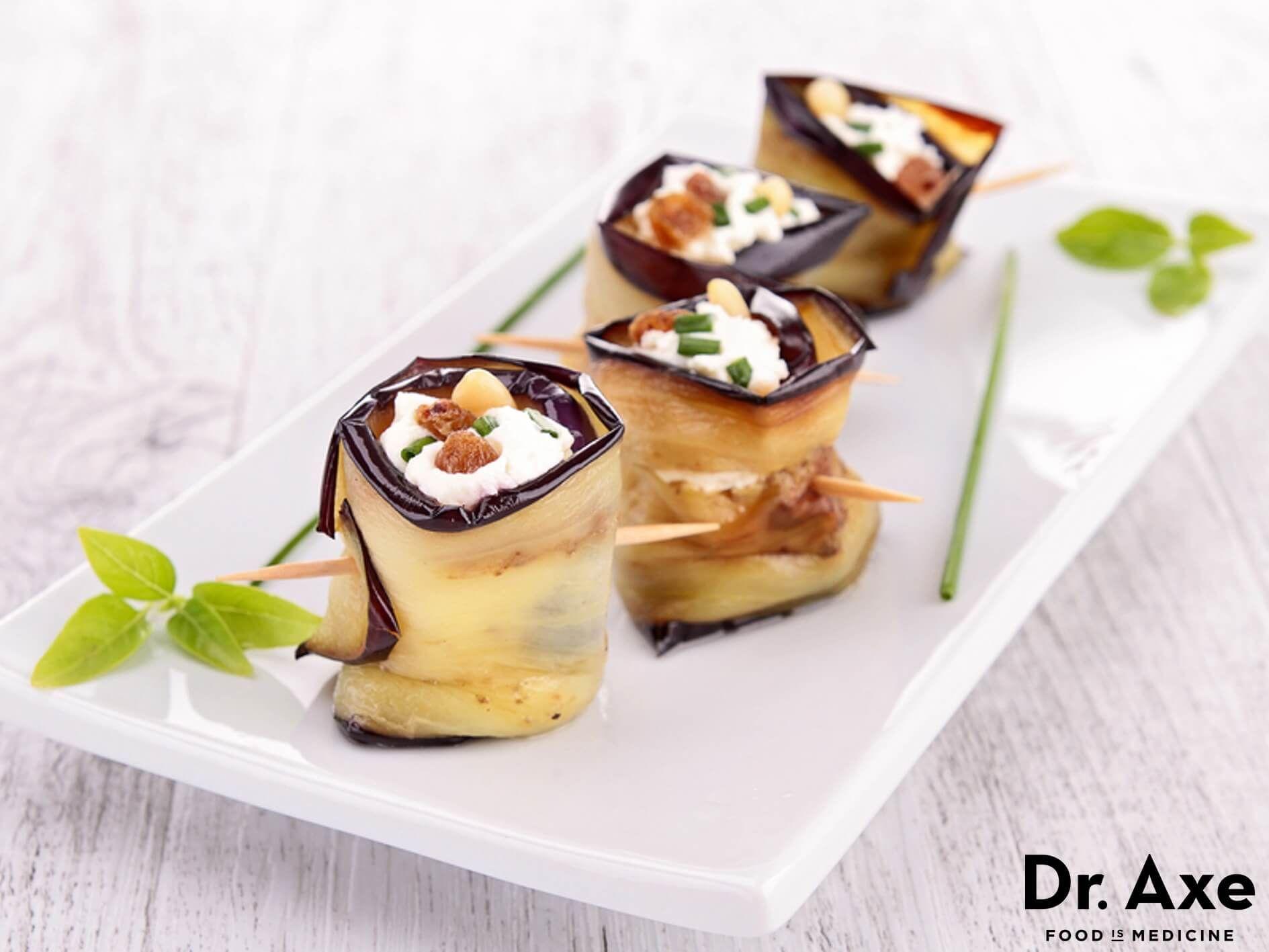 Rotllets d'albergínia amb formatge